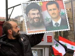 LEBANON NASRULLAH ASSAD POSTER --- LOUAI BESHAHRA AFP