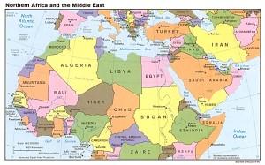 nord africa e medio oriente, mappa