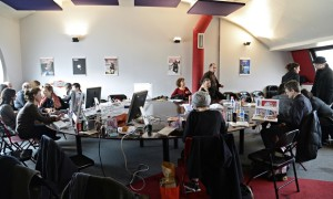 Editorial staff of Charlie Hebdo at the offices of Libération