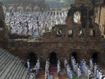 India Muslims offer prayers at the Ferozshah Kotla Mosque during Eid al-Adha in New Delhi, India, Wednesday, Oct. 16, 2013. Eid al-Adha is a religious festival celebrated by Muslims worldwide to commemorate the willingness of Prophet Ibrahim to sacrifice his son as an act of obedience to God. (AP Photo/Tsering Topgyal)
