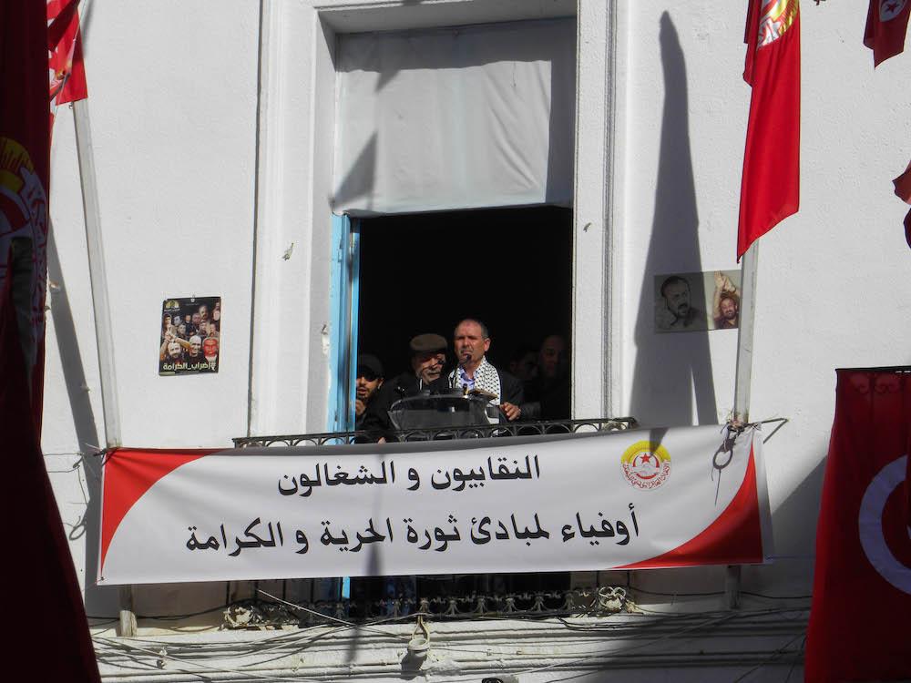 Nourredine Taboubi, segretario generale del sindacato UGTT, durante il suo discorso a Place Mohamed Alì_Tunis_14012018